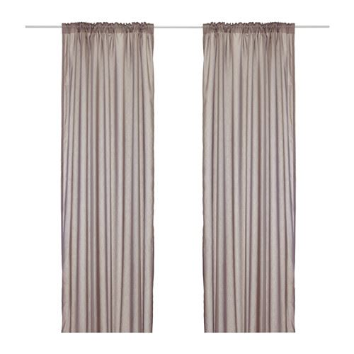Ikea Torhild Sheer Curtains Window Panels Light Blue Brown