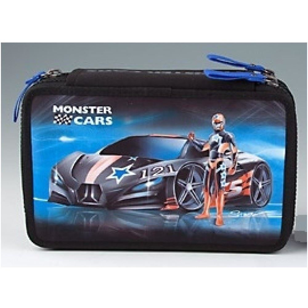 Triple Filled Pencil Case Monster Cars With Writing Or Car Image