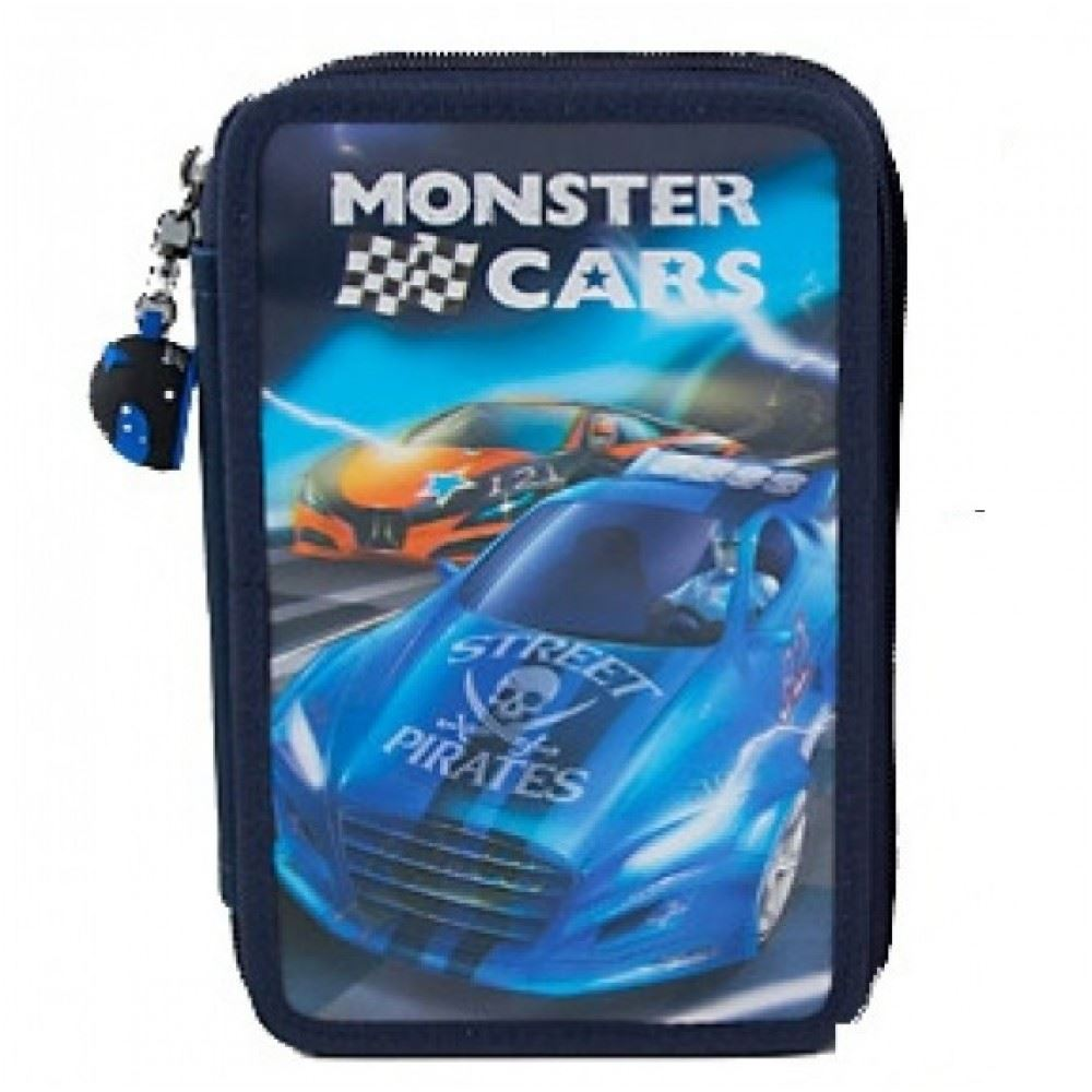 Depesche Filled Triple Pencil Case Monster Cars In Two Design