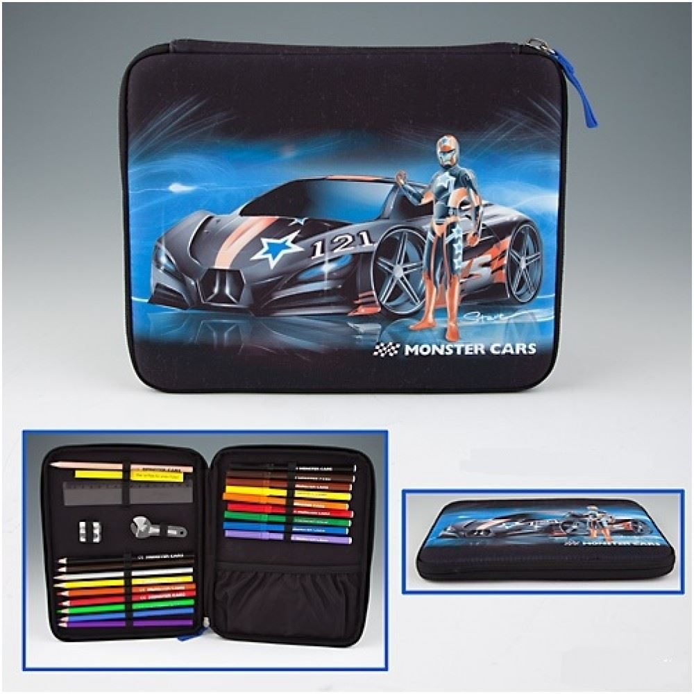 Depesche Monster Cars Filled Pencil Case Flat With Printed Front