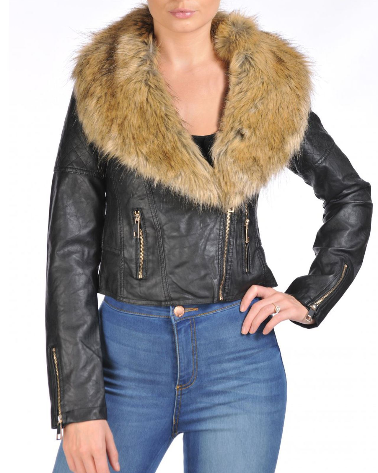 This stylish ladies leather jacket with fur collar features special features about zippers, pockets, full zipped front and snap collar. It is % leather and the fur on a collar is removable. It is % leather and the fur on a collar is removable.