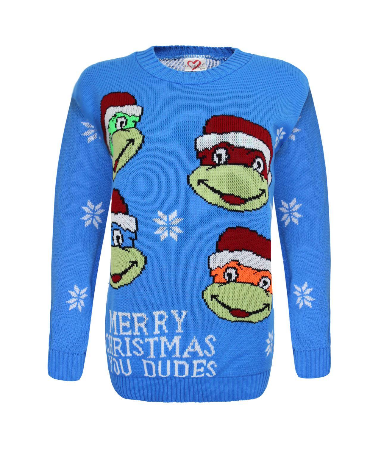 Knitting Pattern For Ninja Turtles Jumper : KIDS KNITTED REINDEER TURTLE NINJA CHRISTAMS JUMPER XMAS ...