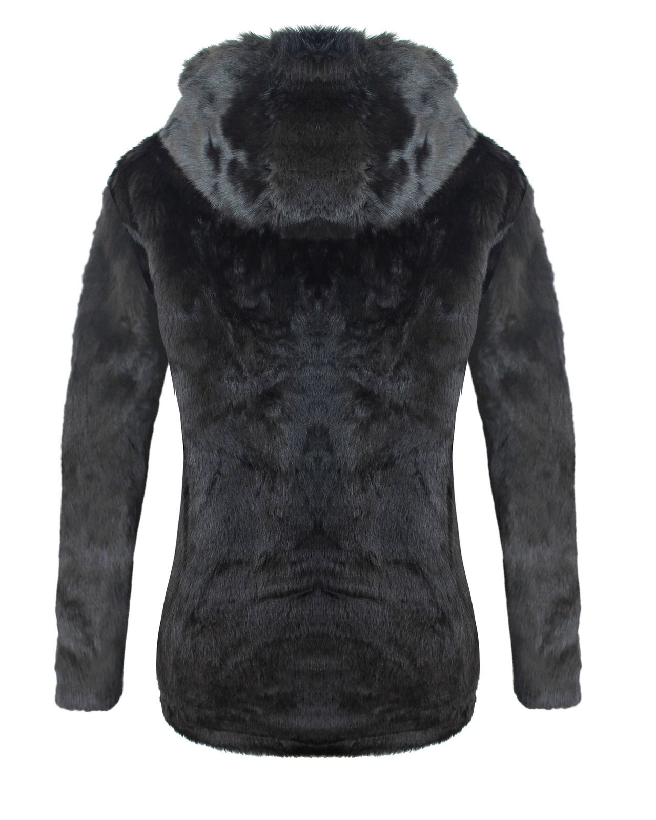 LADIES WOMENS ALL OVER FAUX FUR HOODED JACKET WINTER WARM