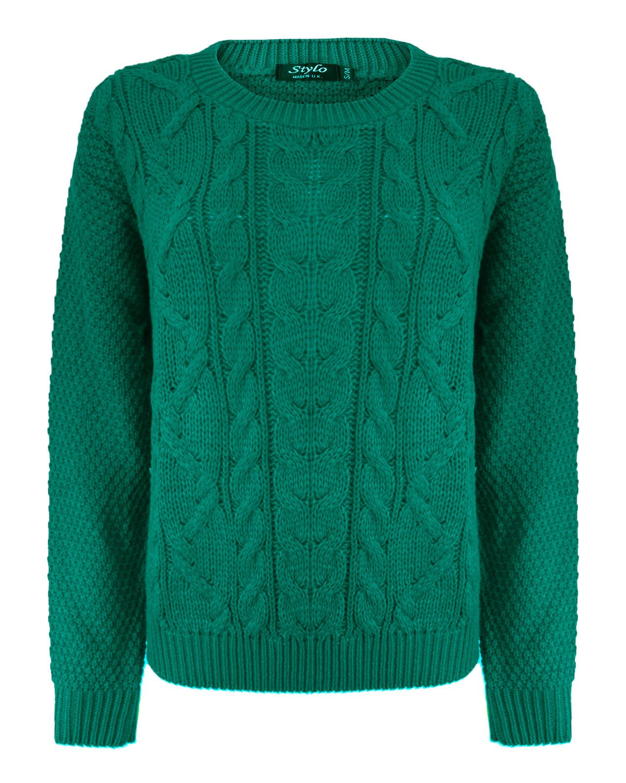 LADIES WOMENS CABLE KNIT LONG SLEEVE KNITTED JUMPER OVER SIZE SWEATER TOP 8-1...