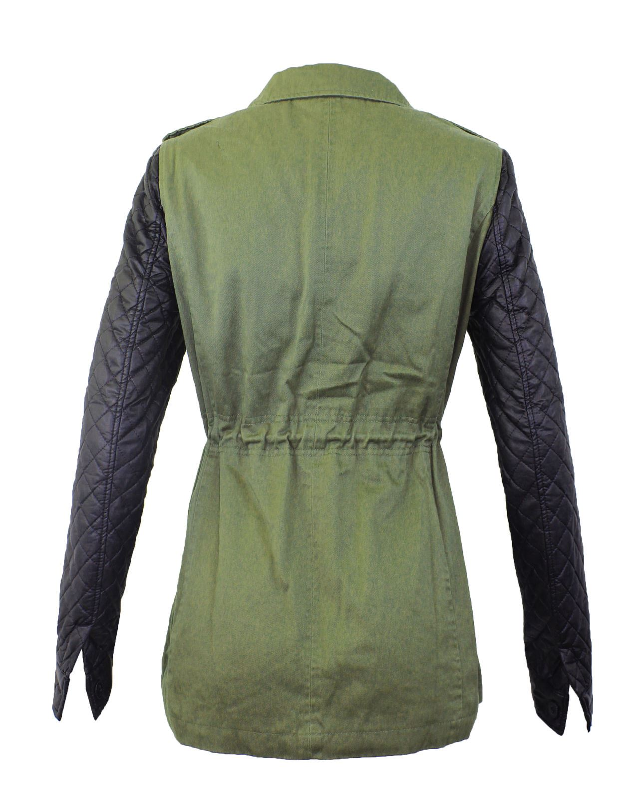 Ladies women leather pvc quilted sleeves rivets studs for Onorevoli donne