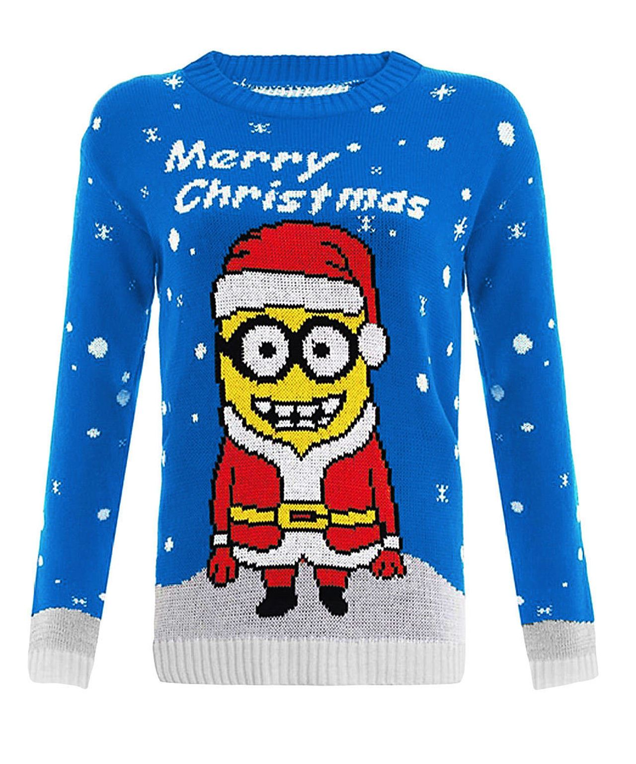 Knitting Pattern For Minion Jumper : Women Ladies Knitted Kids Girls Boys Minion Christmas Xmas ...