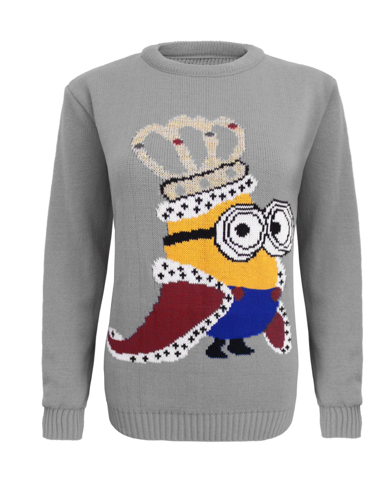 Knitting Pattern For Minion Jumper : KIDS GIRLS KNITTED KING CROWN MINION CHRISTMAS XMAS JUMPER ...