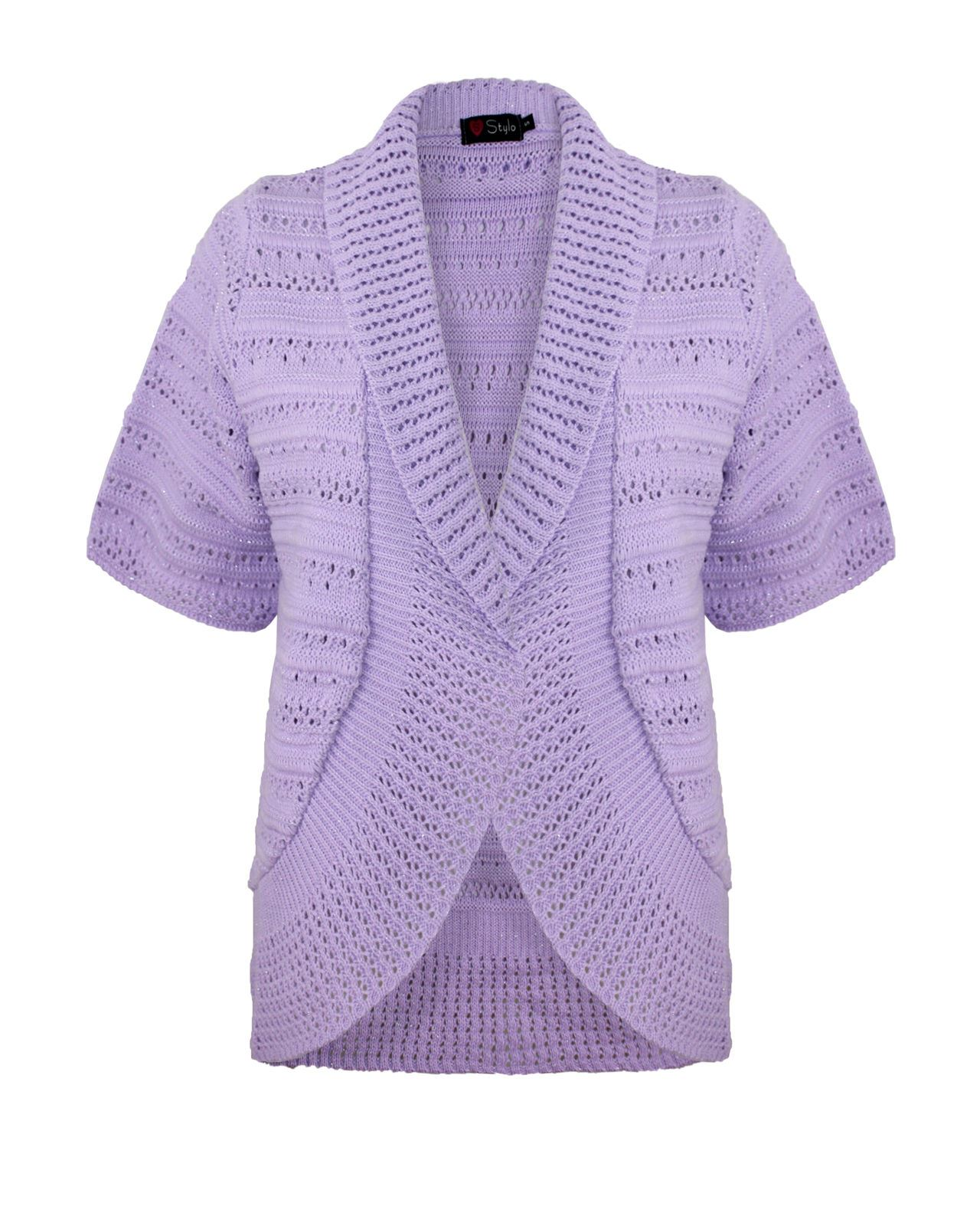 Knitting Pattern Ladies Short Sleeve Cardigan : Ladies Womens Knitted Blazer Shrug Short Sleeves Open front Cardigan Top Jump...