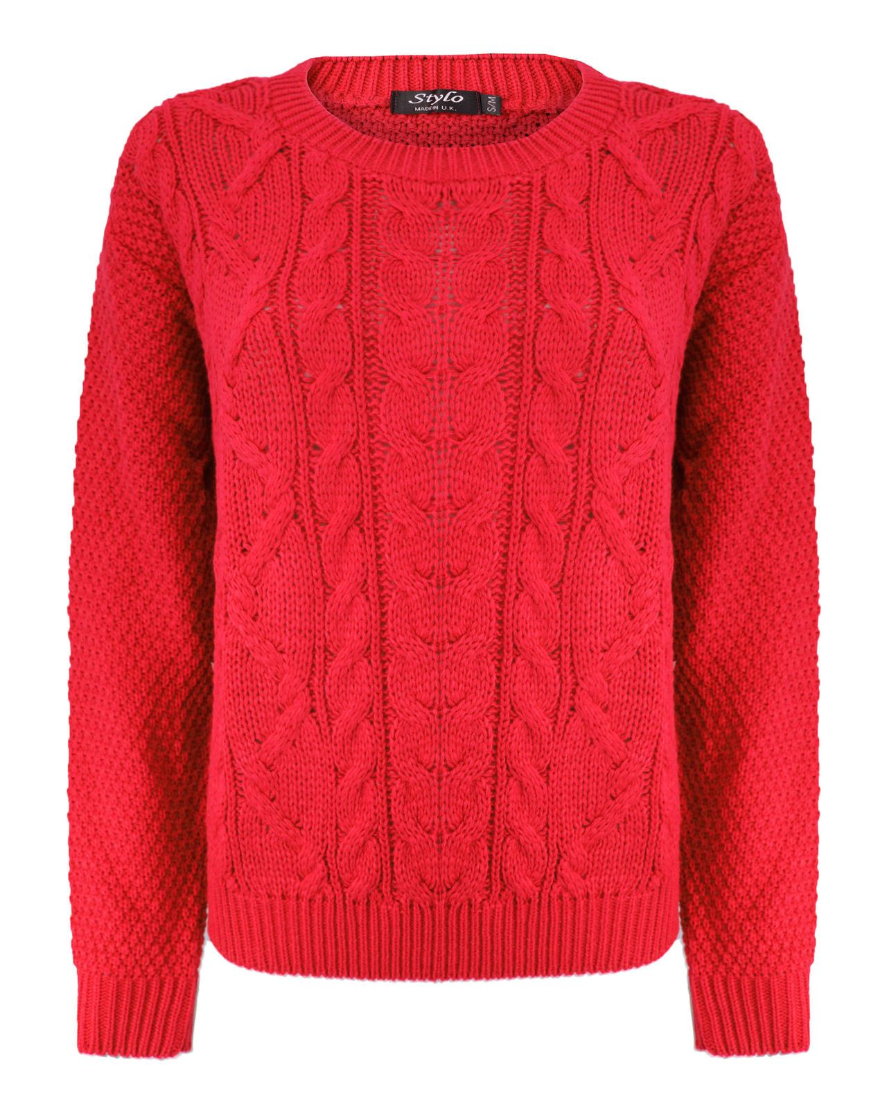 Ladies Women Knitted Crew Neck Long Sleeve Cable Knit Jumper Chunky Sweater T...