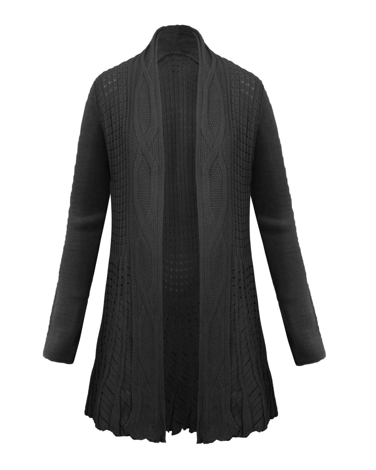 strickjacke pullover damen zopfmuster gestrickt boyfriend offen lang 36 42 ebay. Black Bedroom Furniture Sets. Home Design Ideas
