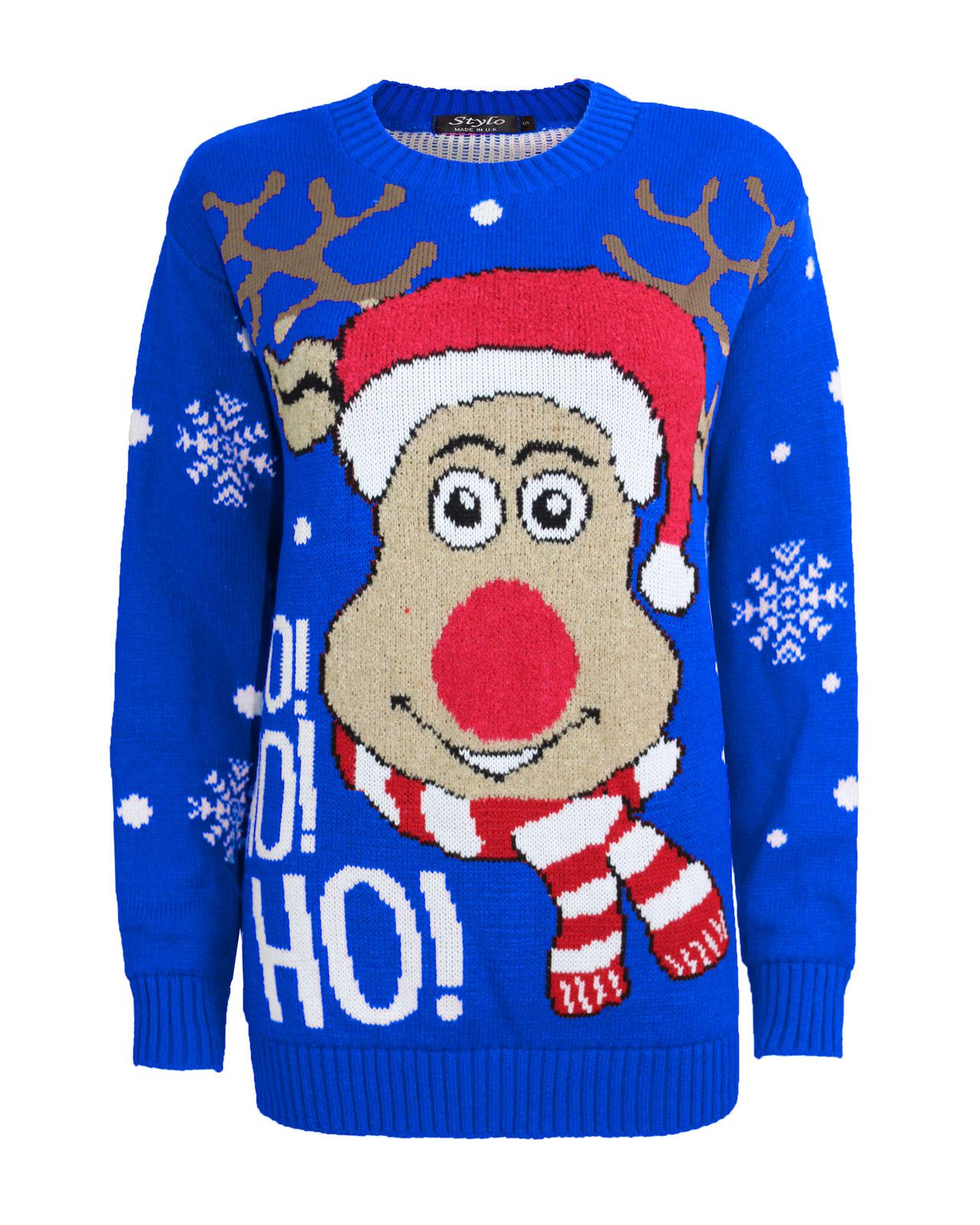 Ladies Women Knitted Reindeer HoHoHo Christmas Xmas Kids Chunky Knit Jumper T...