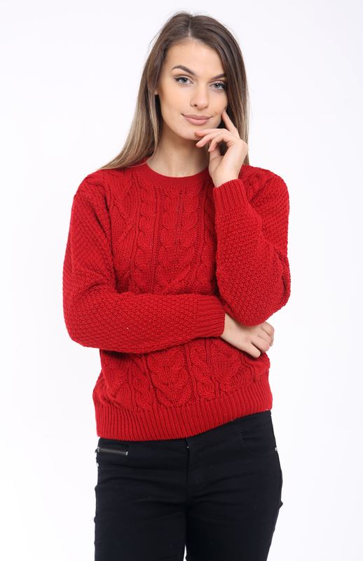 Ladies Women Knitted Crew Neck Long Sleeve Cable Knit ...