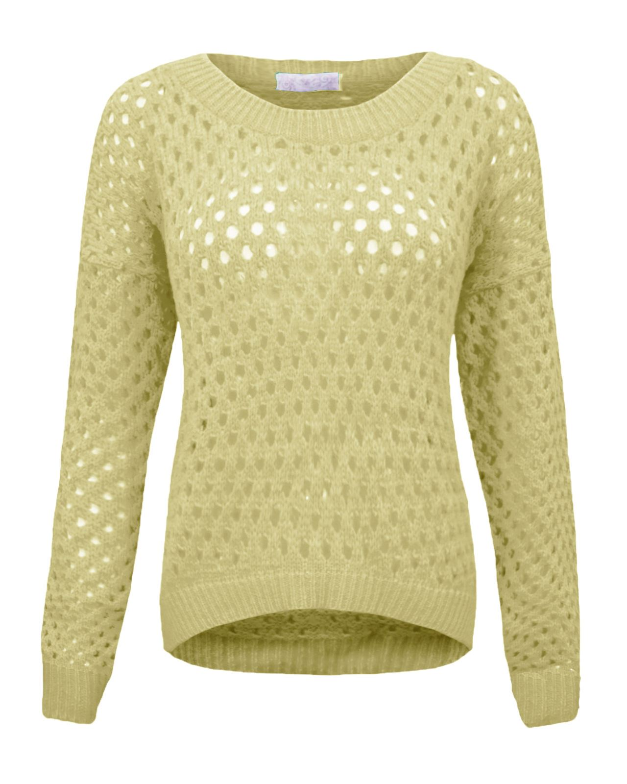 LADIES WOMENS HOLEY KNIT JUMPER STRETCH SWEATER CREW NECK LONG SLEEVES TOP 8-...