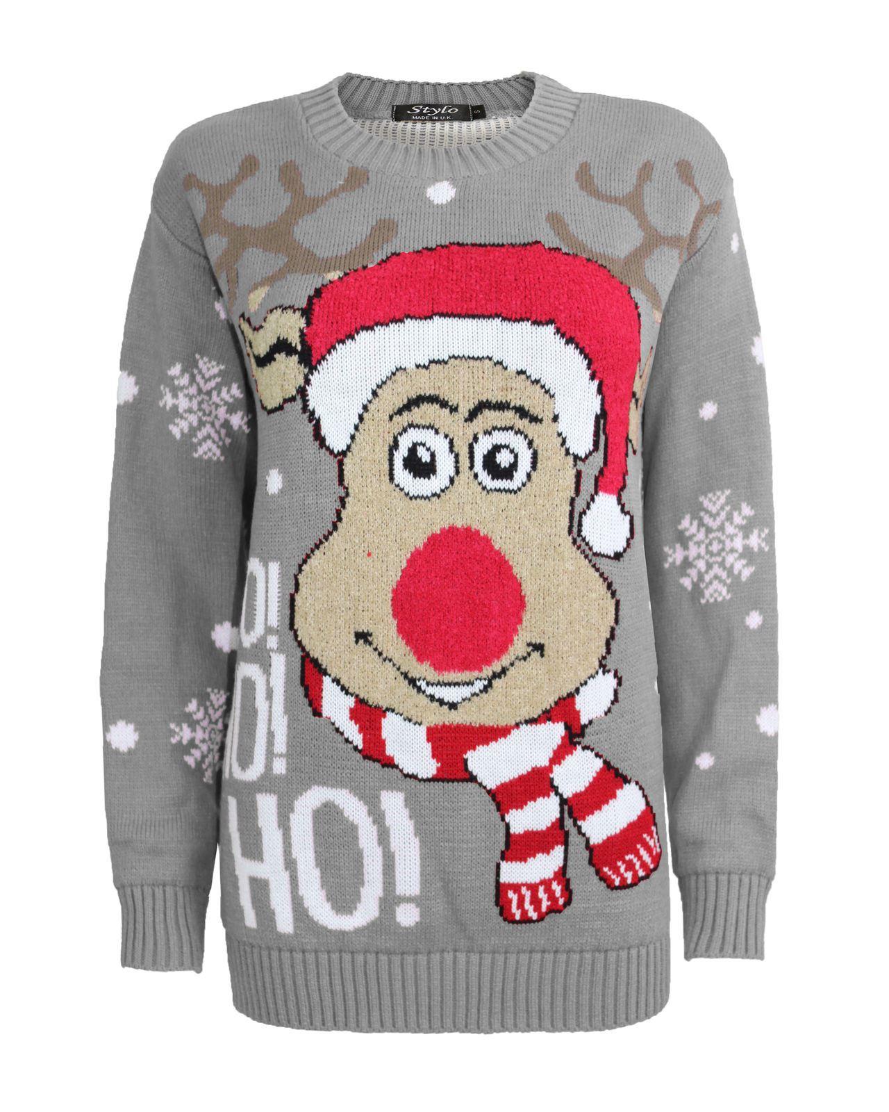 New Unisex Adult Kids Knitted HoHoHo Christmas Xmas Reindeer Jumper Top Sweat...