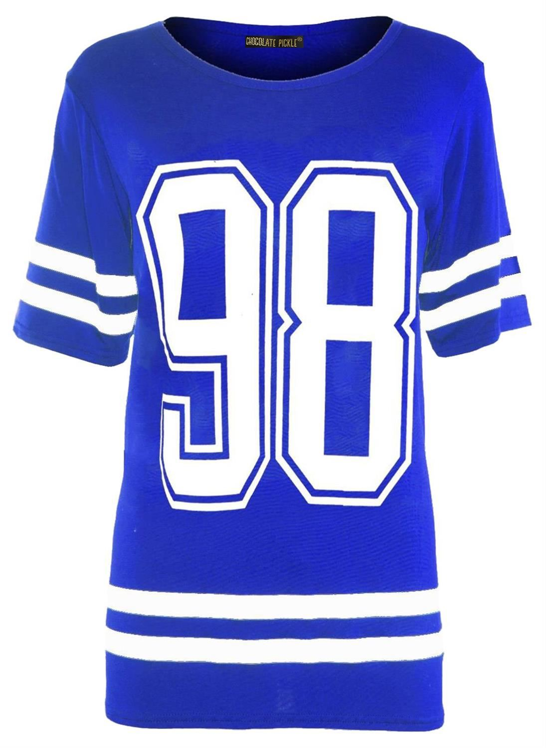 New-Womens-Plus-Size-Number-Printed-Royal-Blue-Varsity-Stripe-T-Shirts-12-26