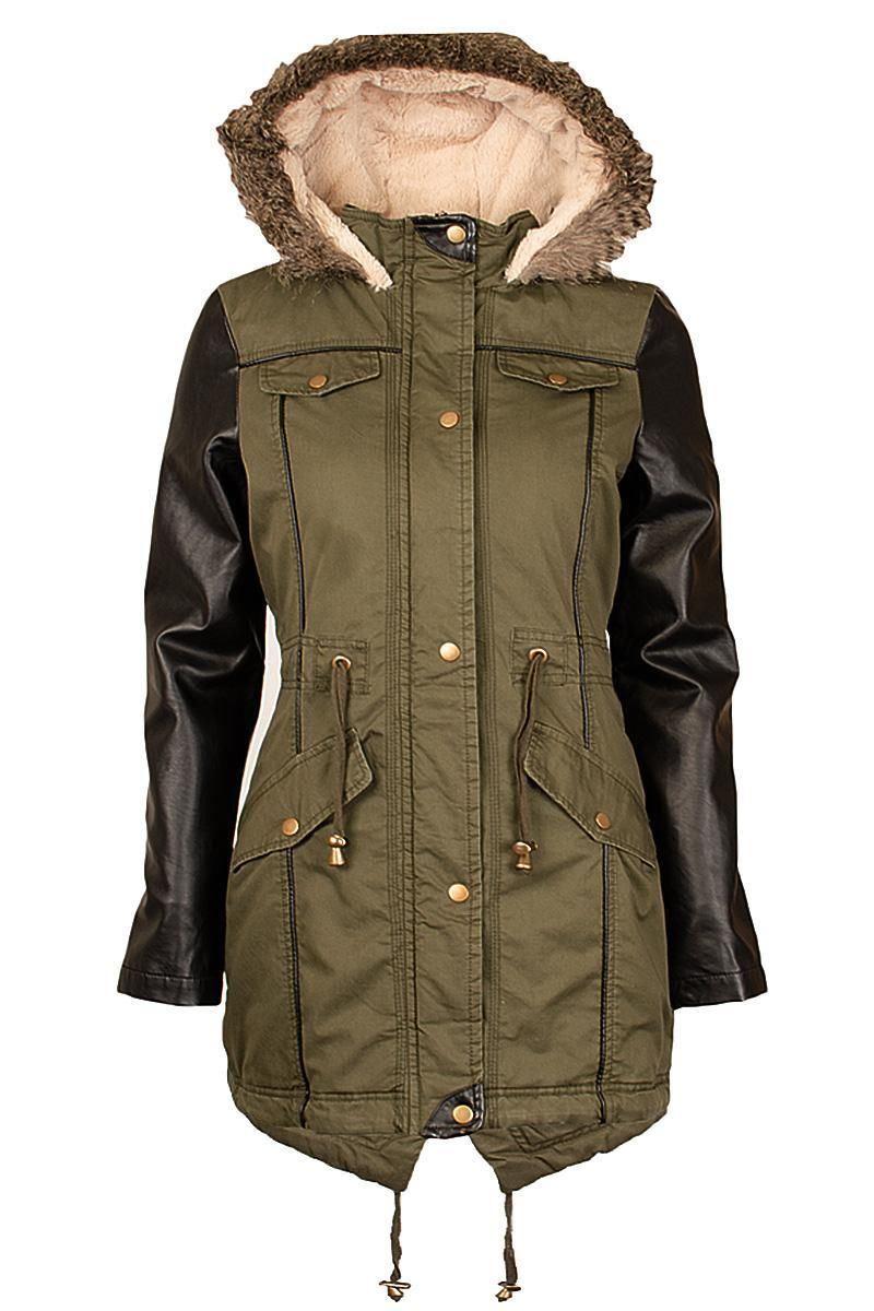 Ladies plus size pvc Wetlook Sleeve Long Khaki Parka Jackets Fur