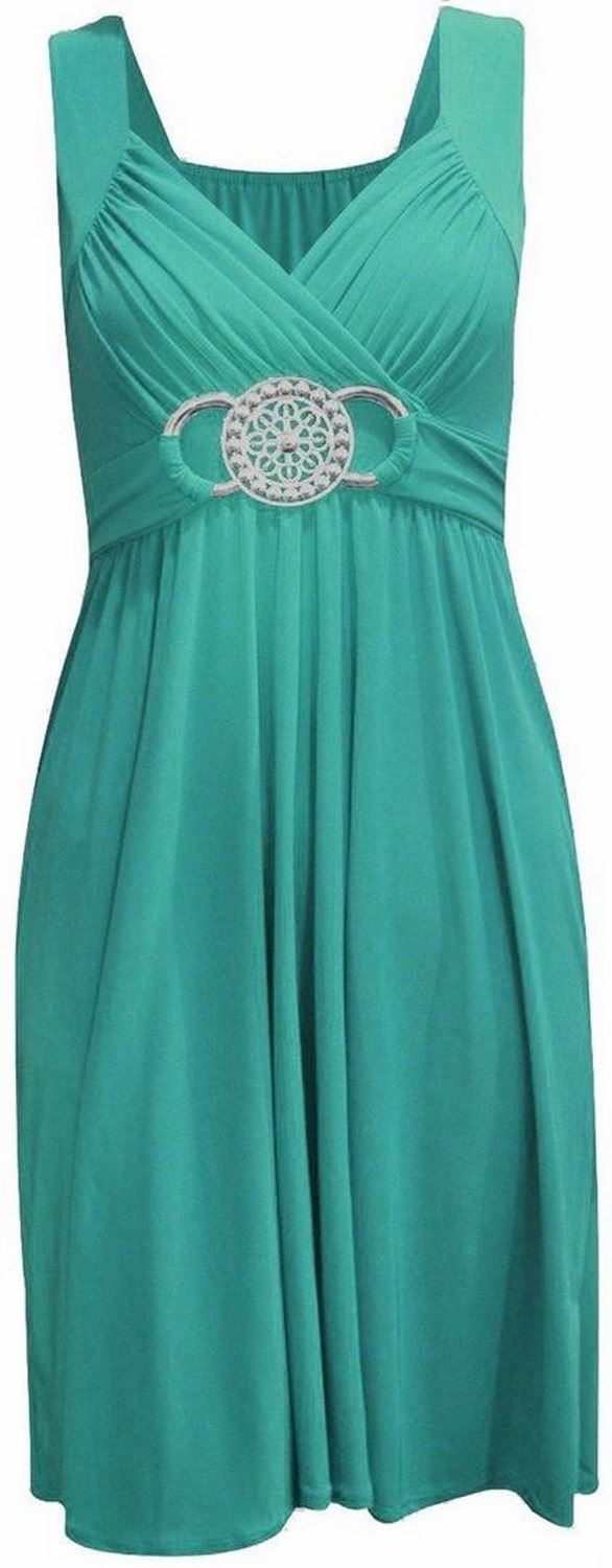 New Womens Knee Length Buckle Belted Maxi Plus Size Tie Back Party Dress 8-26