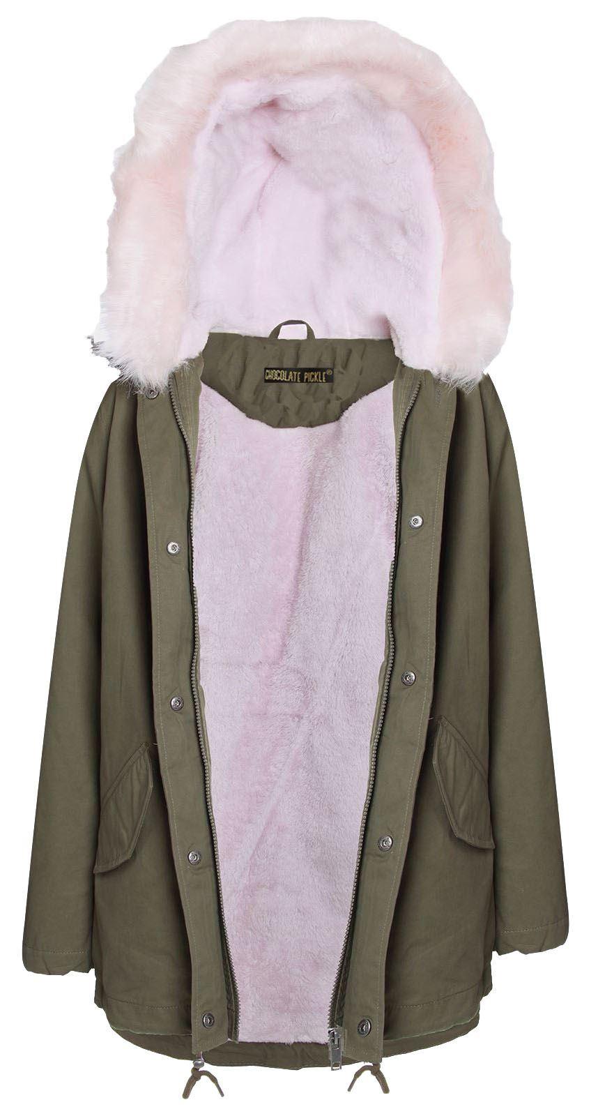 New Ladies Pale Pink Fur Sherpa Hooded Parka Coat Winter Jacket 8 ...