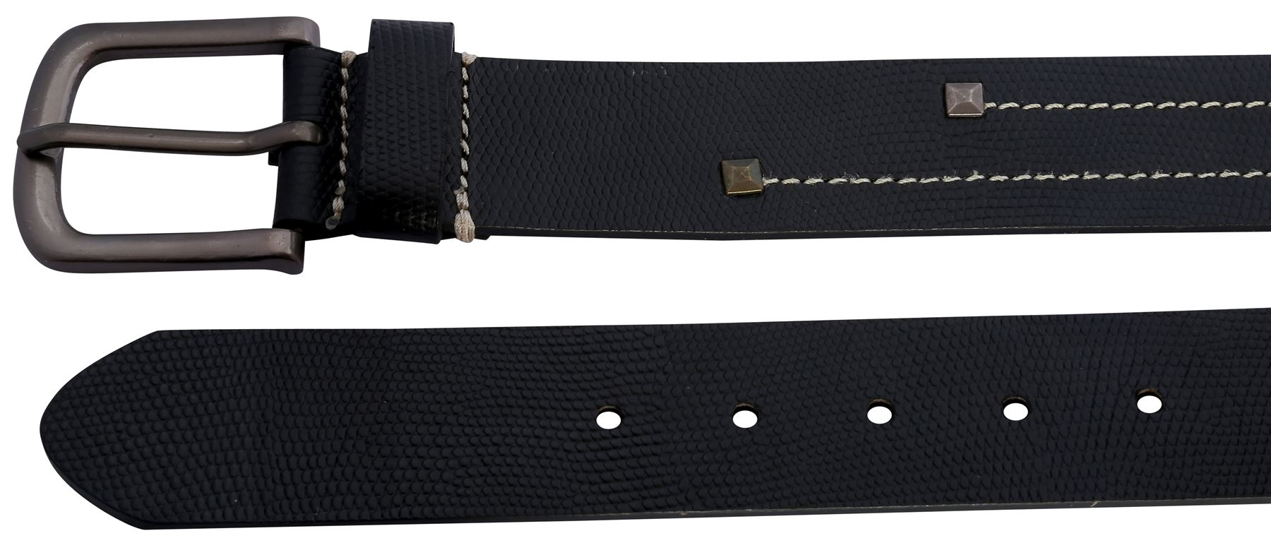 new mens white stitch studded pin buckle leather belts s