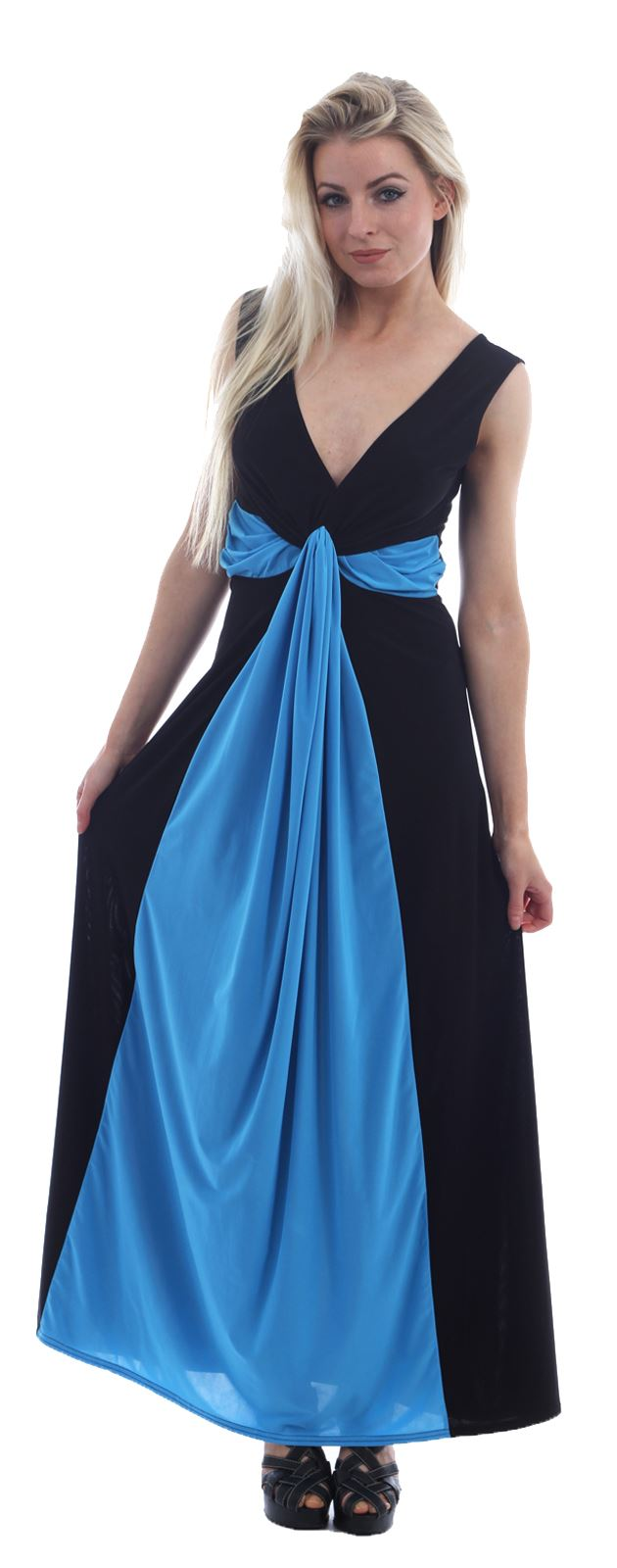 Ladies Plus Size Celebrity Illusion Contrast Boob Knot Evening Maxi ...