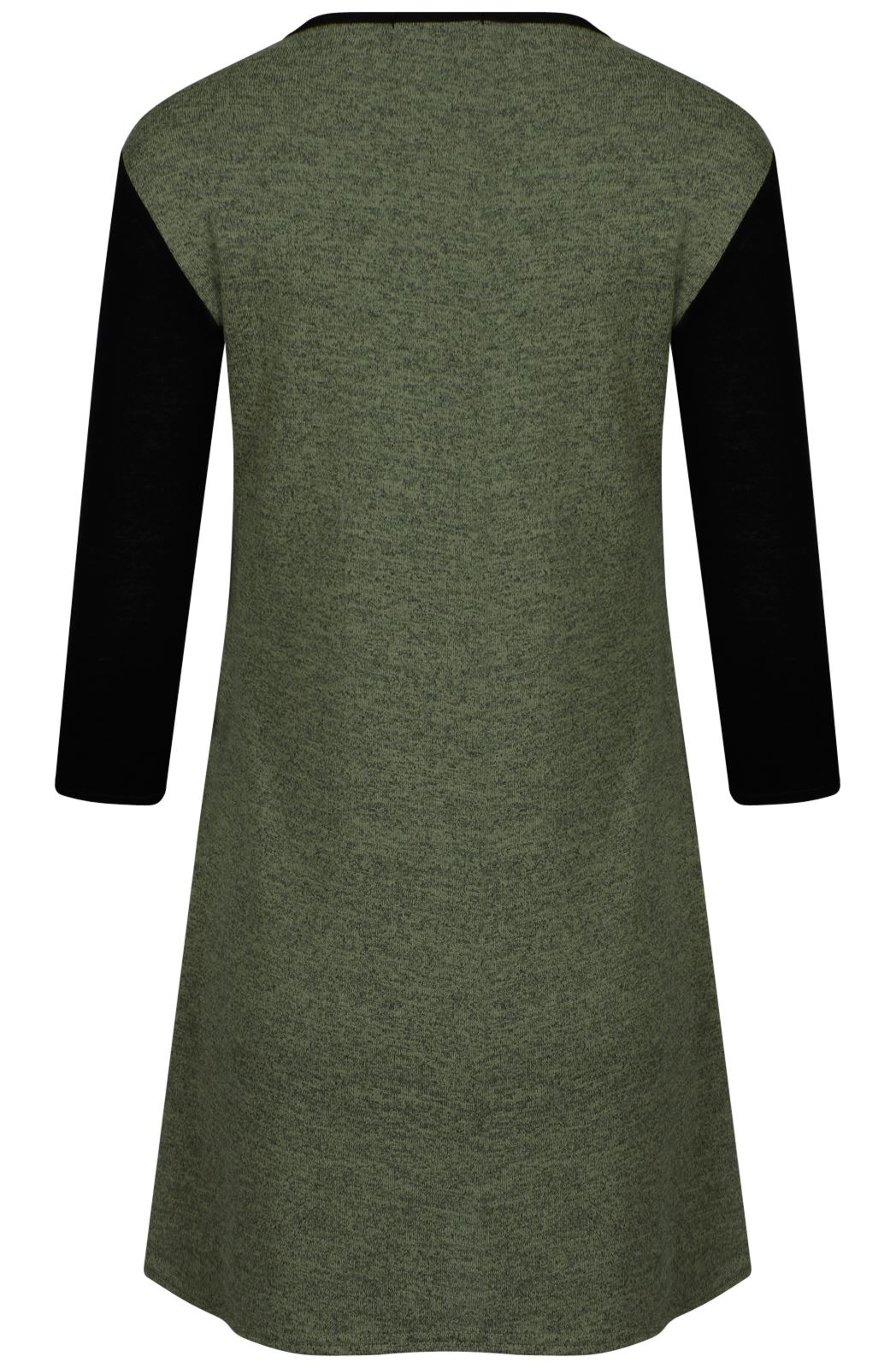 New-Ladies-Sleeve-Contrast-Color-Skater-Dress-8-14
