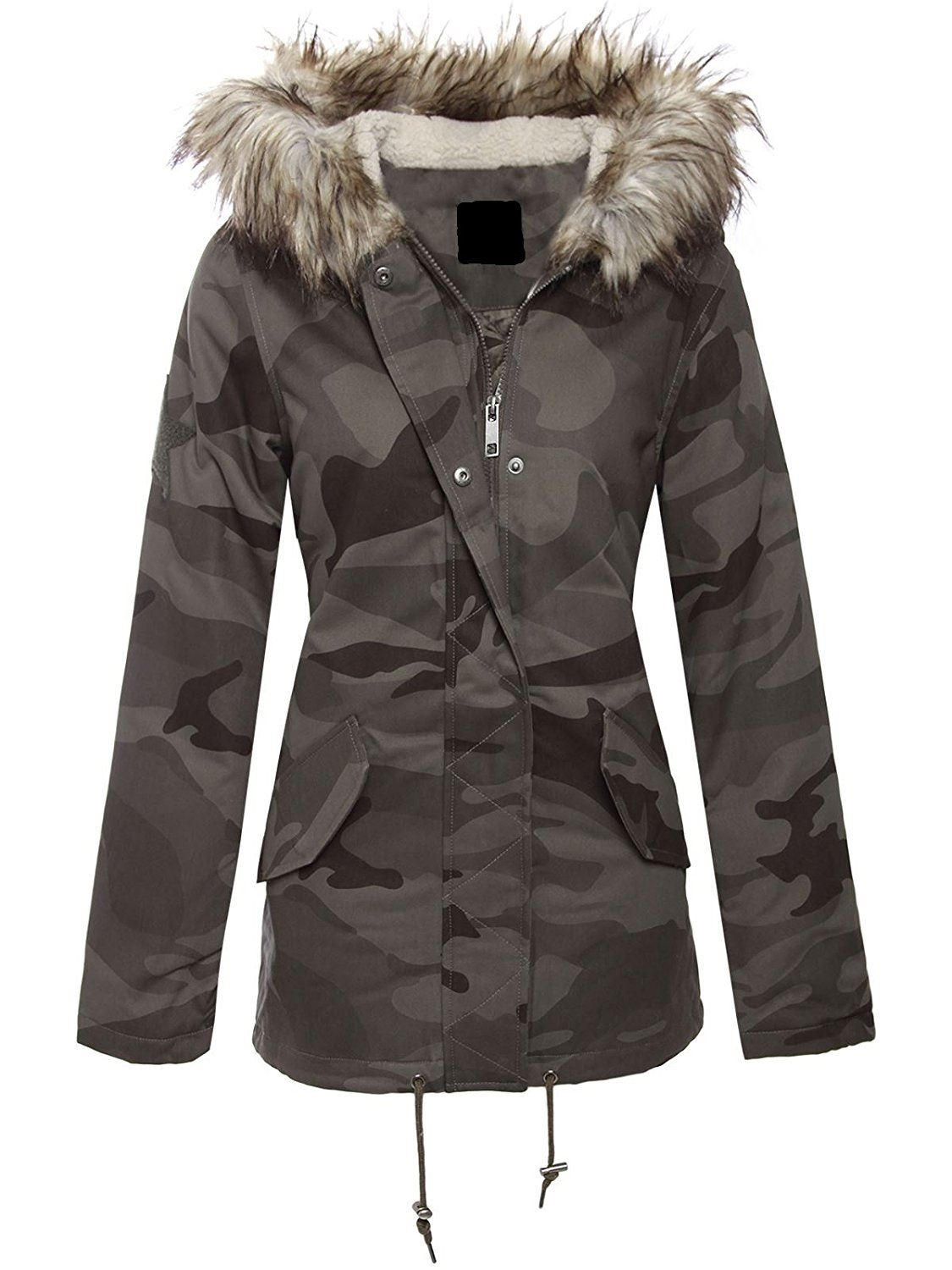 neue damen khaki camo blonde pelz kapuze winter parka. Black Bedroom Furniture Sets. Home Design Ideas