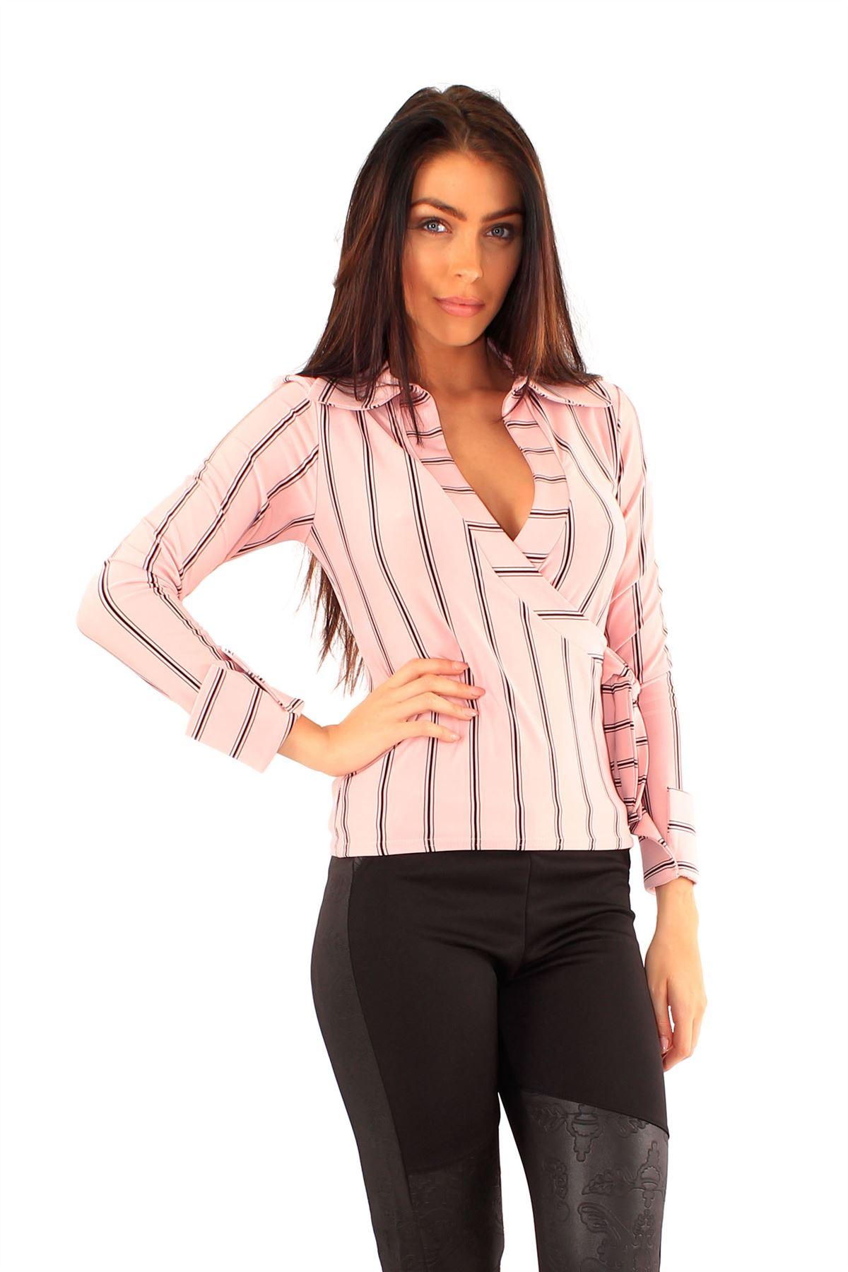 New Ladies Collared Stripy Long Sleeve Skirt Side Tie Wrap