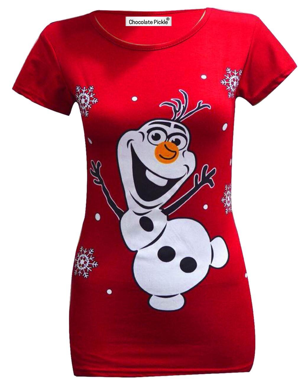 New Womens Olaf Rudolph Snowman Santa Minion Christmas T-Shirt ...