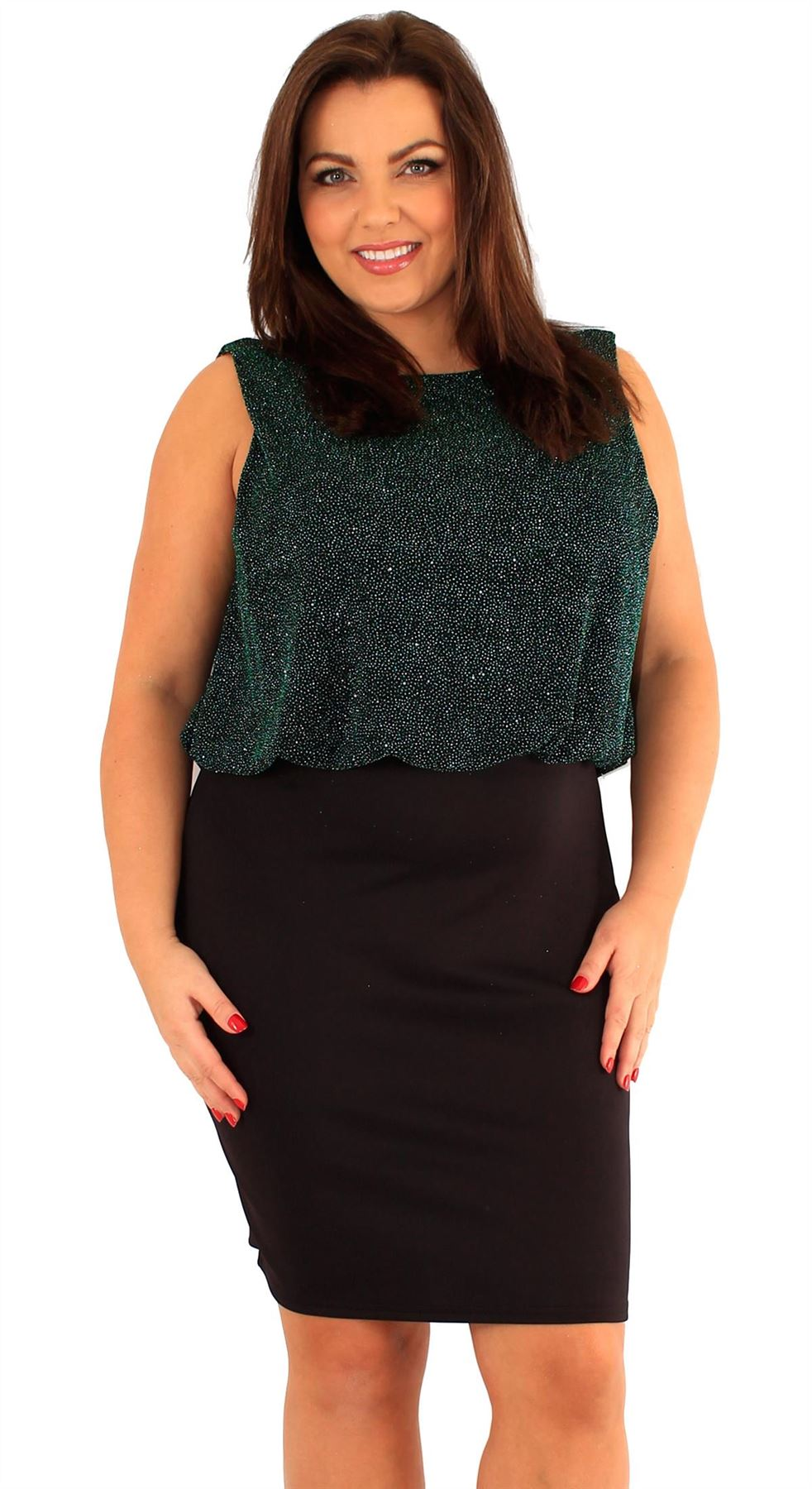 New Ladies Plus Size 2 in 1 Sparkle Cowl Back Party Dress 18-24 | eBay