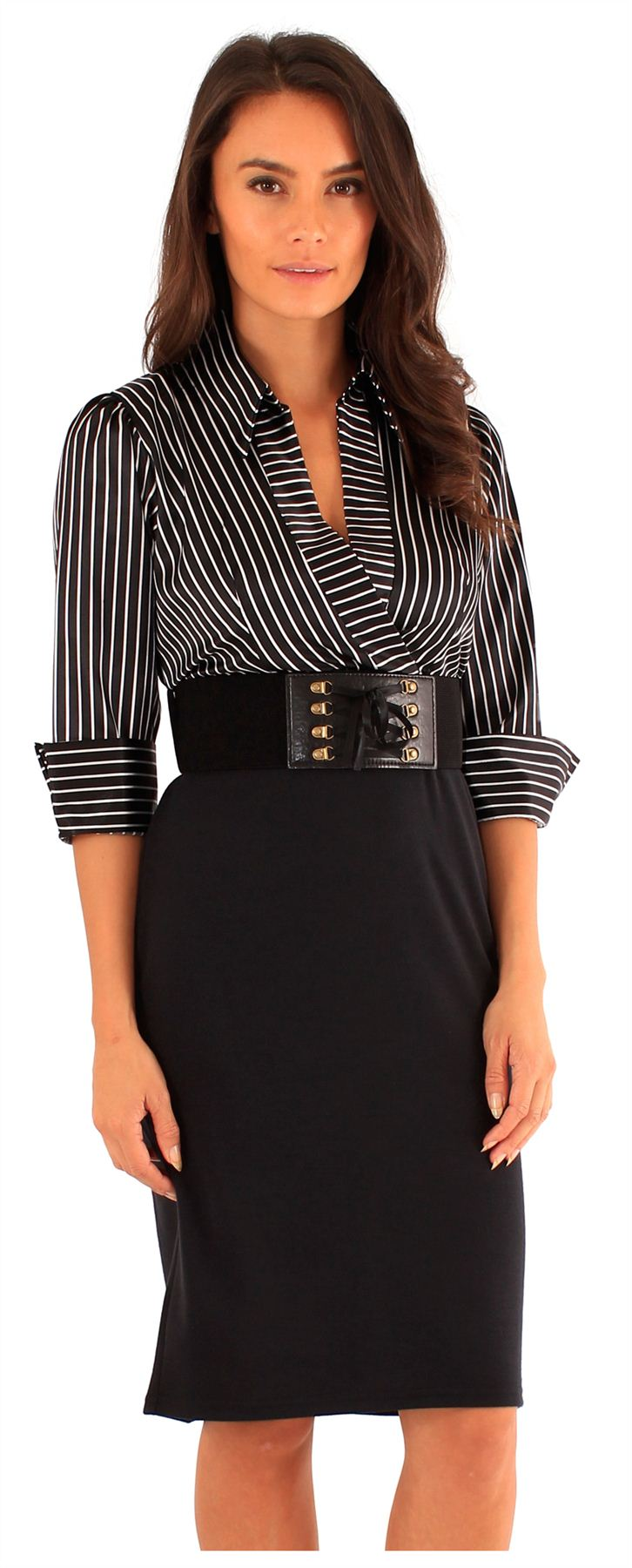 6bd5616f972 New Ladies Pin Stripe Wrap Shirt Long Sleeve Belted 2 In 1 Body Con ...