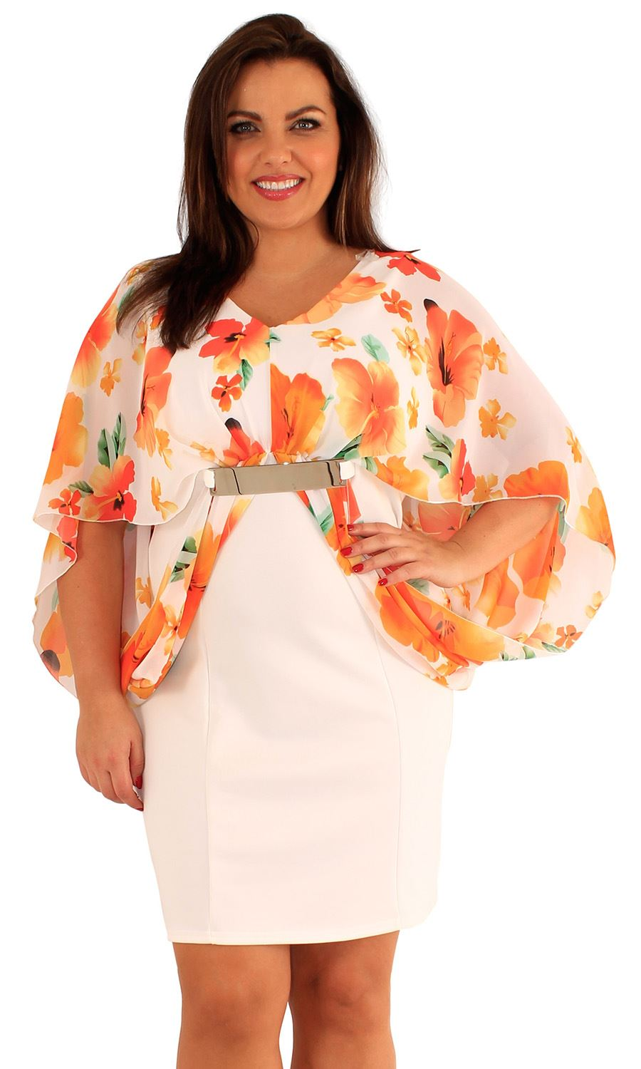 16af115e2d8 Details about New Womens Plus Size Floral Print Kimono Batwing Sleeve  Chiffon Bodycon Dress