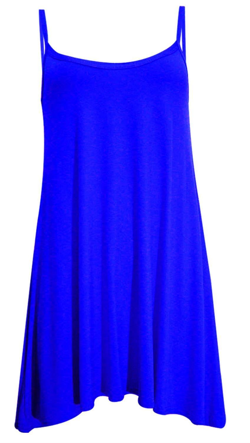 ... about New Womens Plus Size Cami Strappy Plain Tops Long Swing Dress