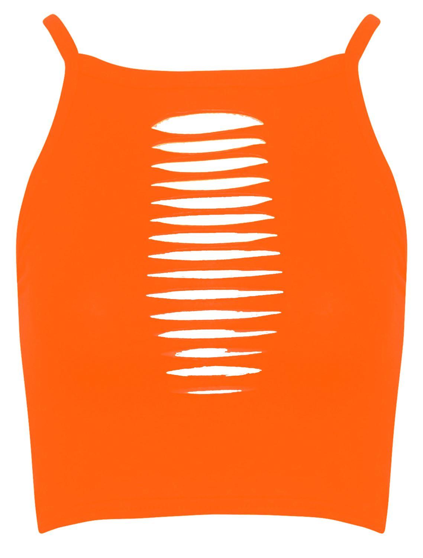 Nuevo-Mujer-Corte-Con-Laser-Cuello-Alto-De-Tiras-Cultivo-Tops-8-14