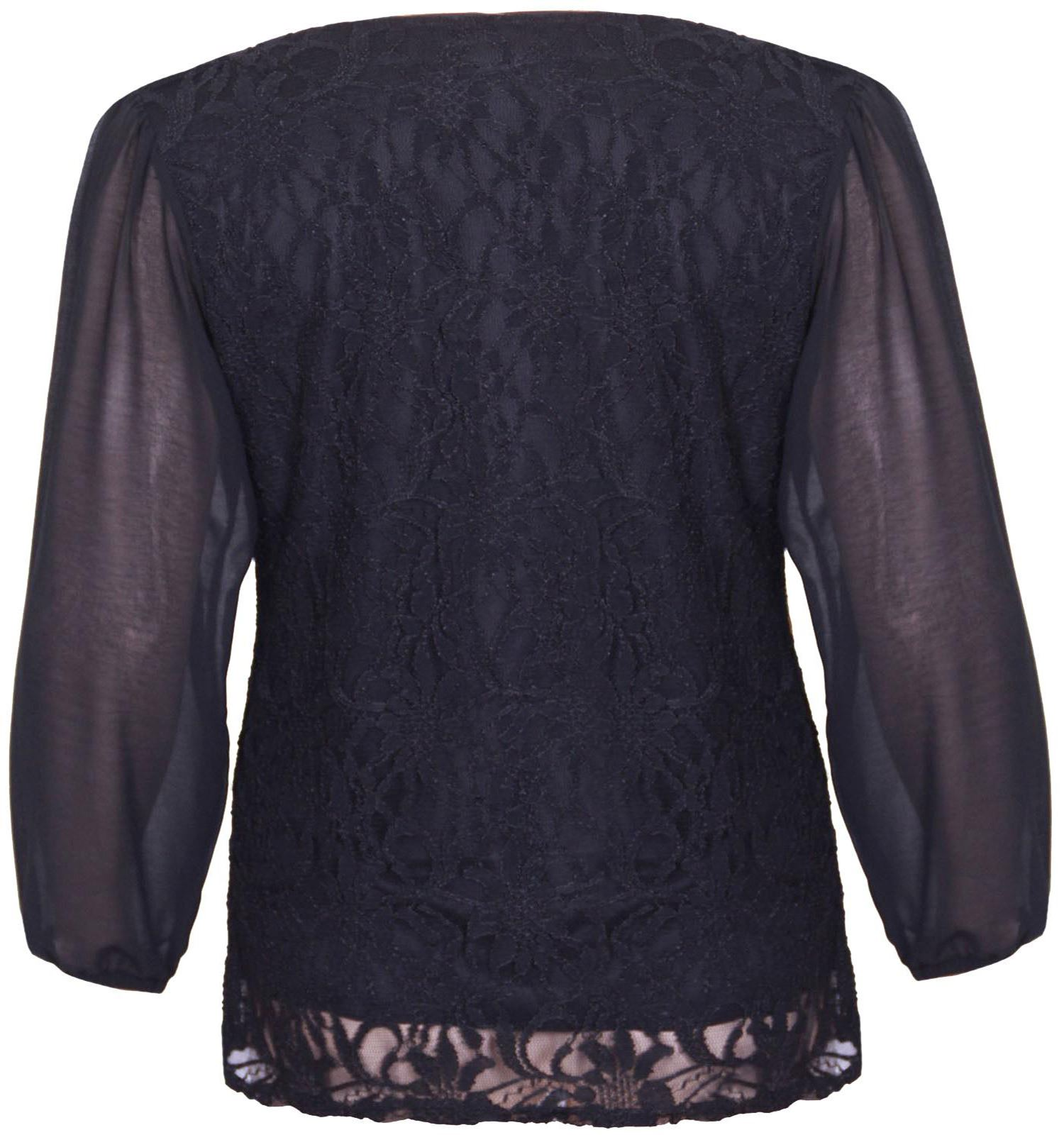 New-Womens-Long-Sleeve-Floral-Lace-Plus-Size-Chiffon-Tunic-Tops-16-26