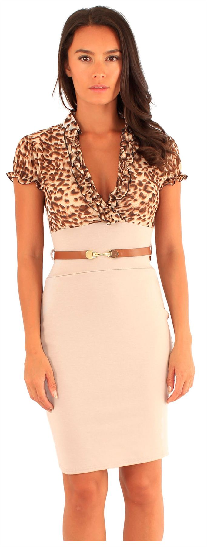 New-Womens-Animal-Print-Chiffon-Puff-Sleeve-2-In-1-Body-Con-Belted-Dress-8-14