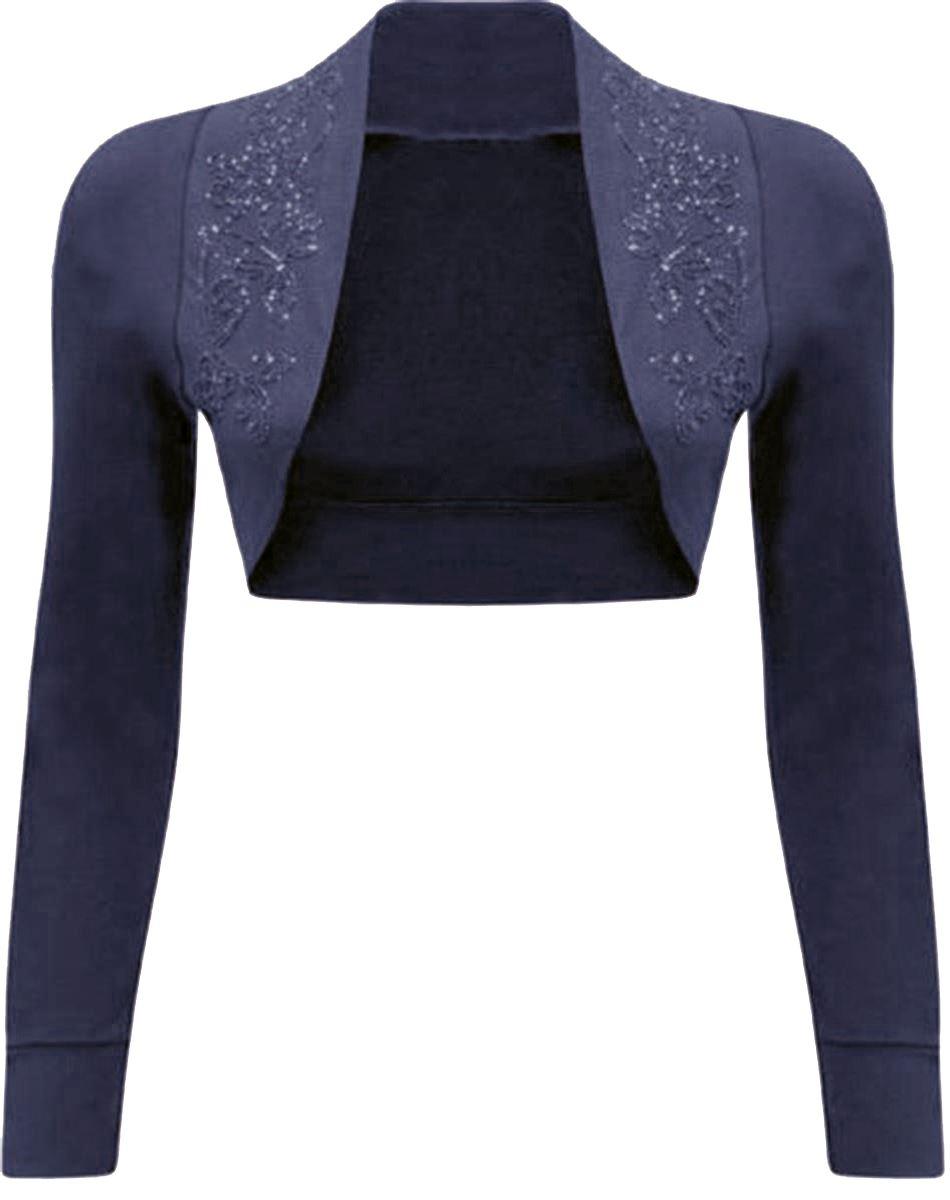 Basic-T-Shirt-in-Ubergroesse-Gestellte-Pailletten-Bolero-