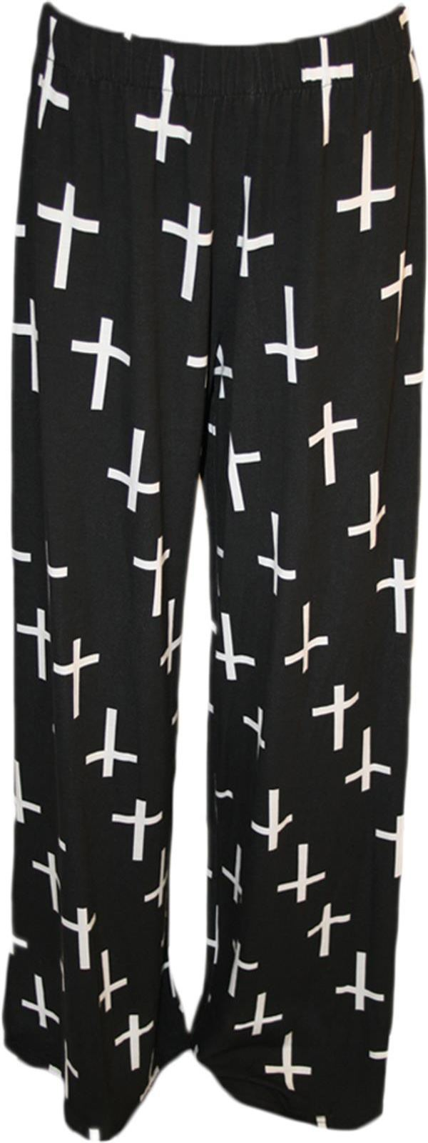 New Womens Plus Size Black Cross Print Legging Harem Palazzos 8-26