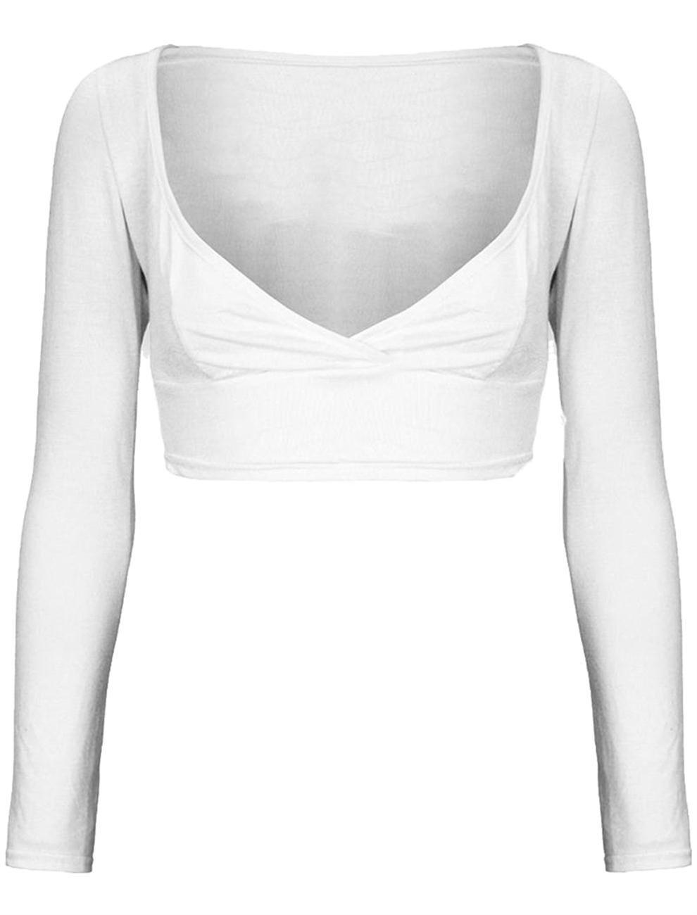 New Ladies Full Sleeve Plunge V-Neck Mini Crop Vest Tops 8-14