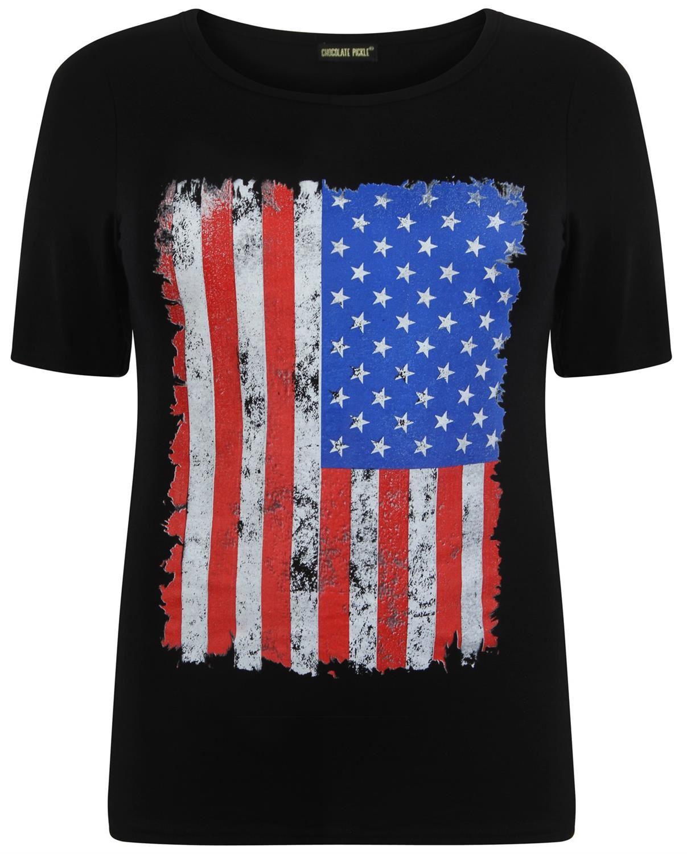 Womens American Union Jack Flag Print T Shirts 12 26 Ebay