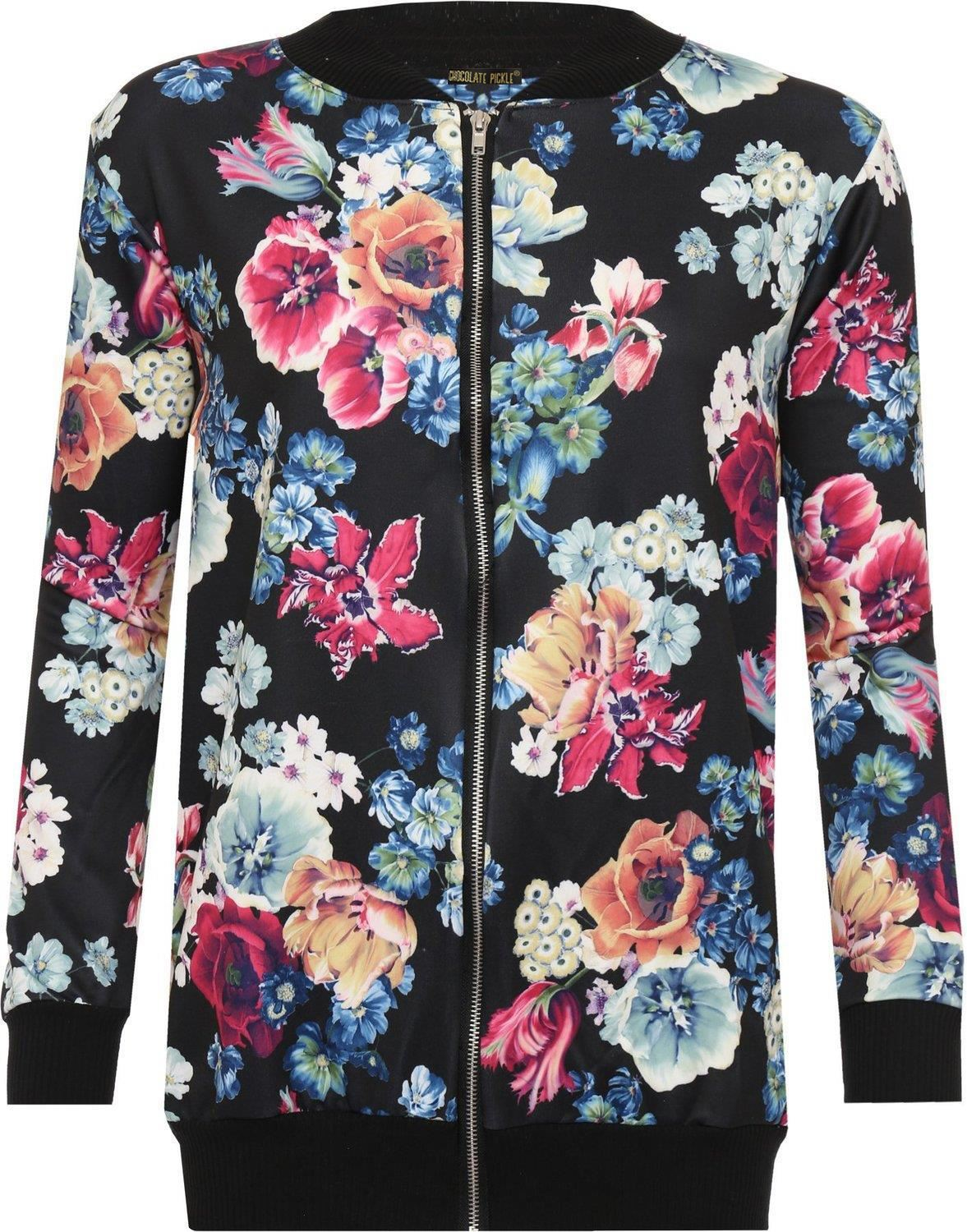 New Womens Plus Floral Print Crew Neck Waist Band Bomber Jackets 14-28