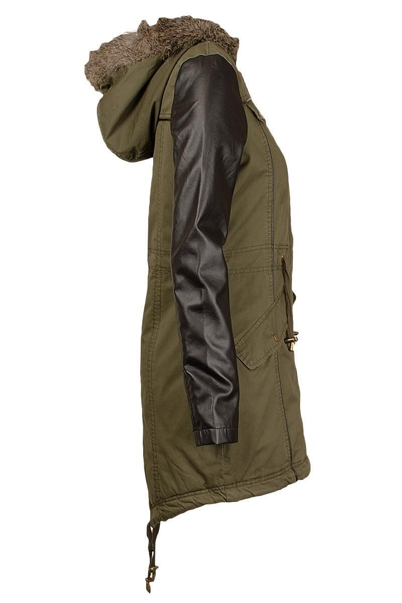 Ladies plus size pvc Wetlook Sleeve Long Khaki Parka Jackets Fur ...