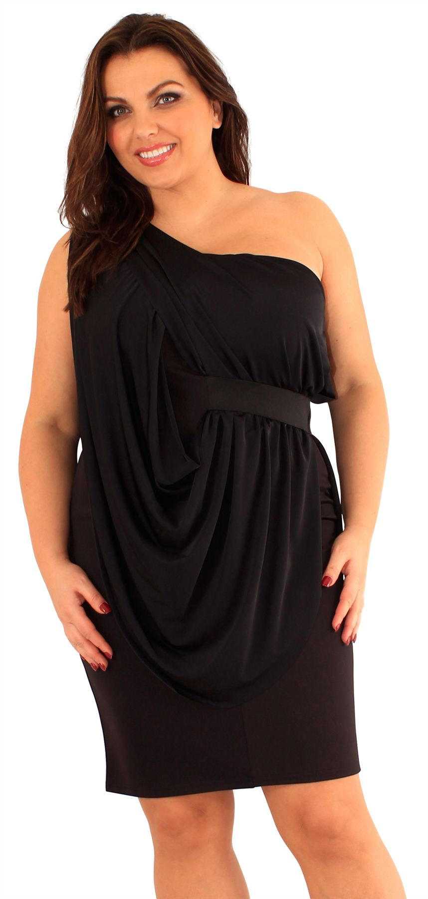New Ladies Plus Size Belted Body Con One Shoulder Pencil Going Out Dress 18-24