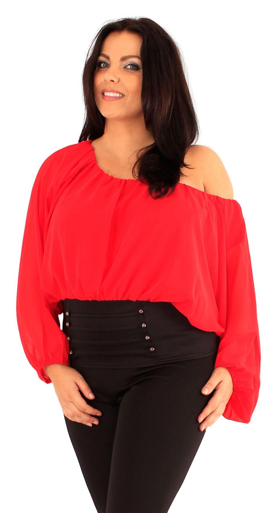New Ladies Plus Size Corset Hem Long Sleeve Chiffon Blouse Gypsy ...