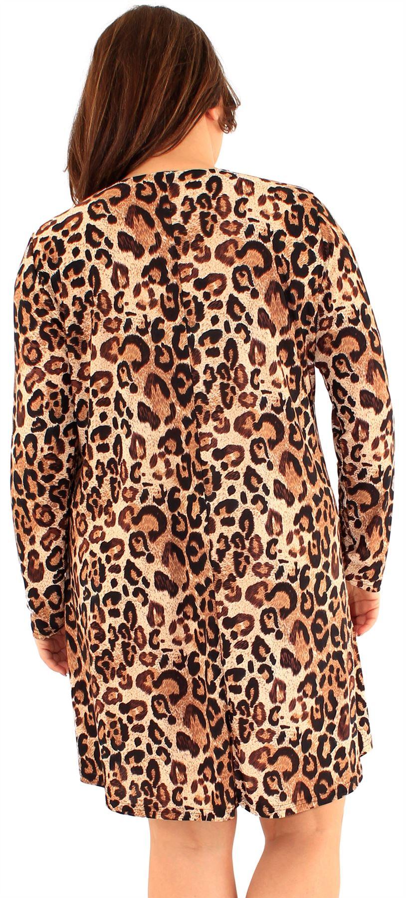 New Ladies Plus Size Animal Floral Printed Long Sleeve Swing Dress 16-24