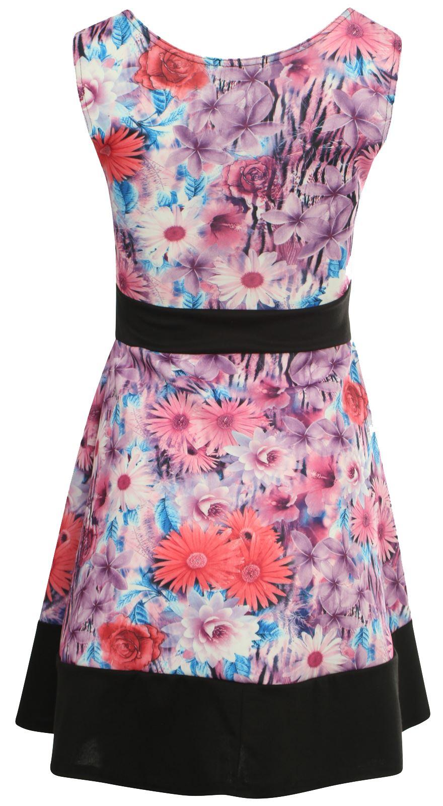 New Womens Plus Size Block Contrast Hem Flared Skater Floral Dresses 8-26