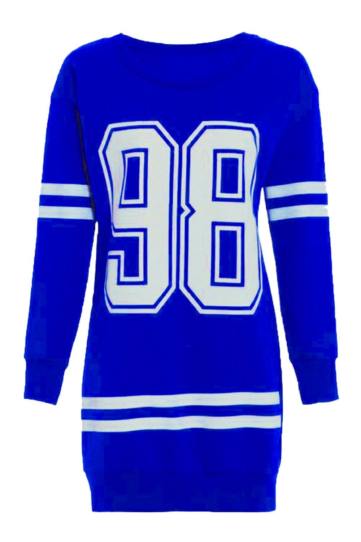 New womens number 98 baseball stripe long sleeve thermal for Sweatshirt kleid lang