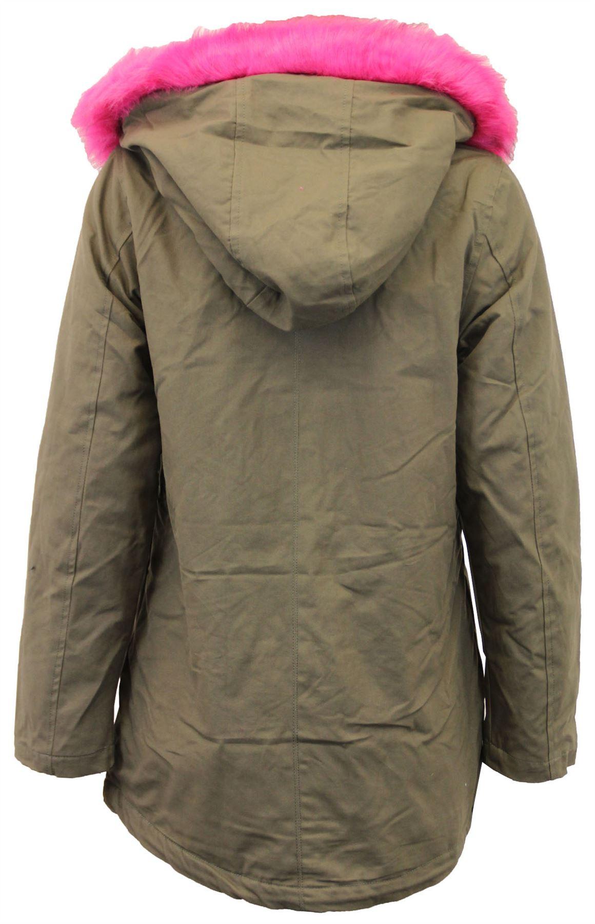 New ladies Fur Sherpa Hooded Parka Coat Fleece Lined Winter Jacket ...