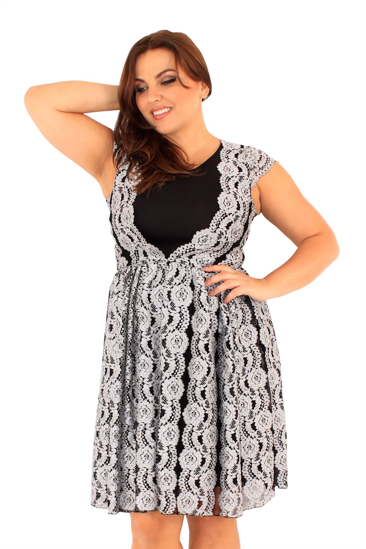 fa5dcf4e0b21 New Ladies Lace Lined Cap Sleeve Skater Dress 18-24 | eBay