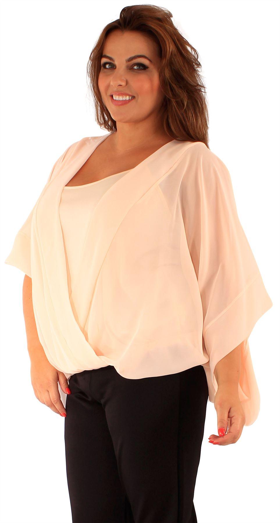 New Womens Plus Size Kimono Batwing Sleeve Chiffon Wrap ...