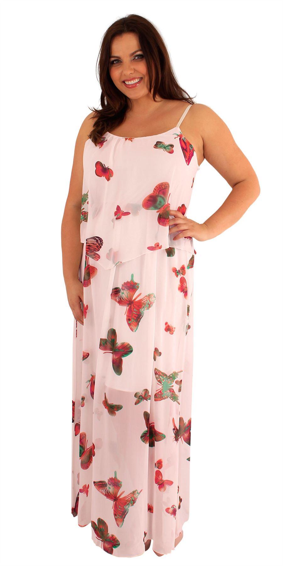 Womens Plus Size Two Layered Chiffon Butterfly Print ...